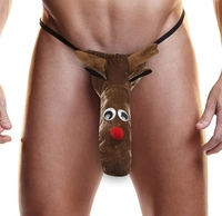 Mens Sexy Reindeer Holiday XXXmas Thong by Vnew