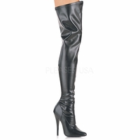 "Domina-3000 Plain Stretch Thigh High Boot with 6"" Heel"