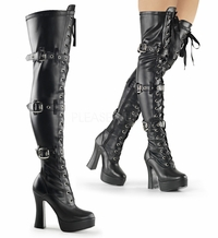 "Electra-3028 5"" Heel Plaform Thigh Boot with Lace Up Front By Pleaser"