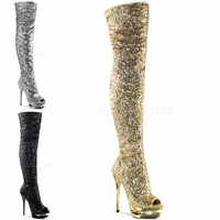 Blondie-R-3011 Open Toe Thigh Boot W Rhinestone Embellishments by Pleaser