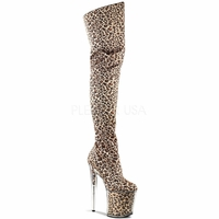 Flamingo-3010 8 Inch Platform Leopard Print Satin Thigh Boot Side Zip