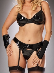 Plus Size Patent Vinyl Bras and Bra Sets