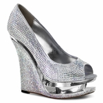 "RAZZLE-660RS Rhinestone-Covered Peep Toe Pump with 5 1/2"" Wedge  <br>Size: 5-12"
