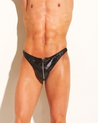 Sexy Men's Leather Thong with Zipper 24-103