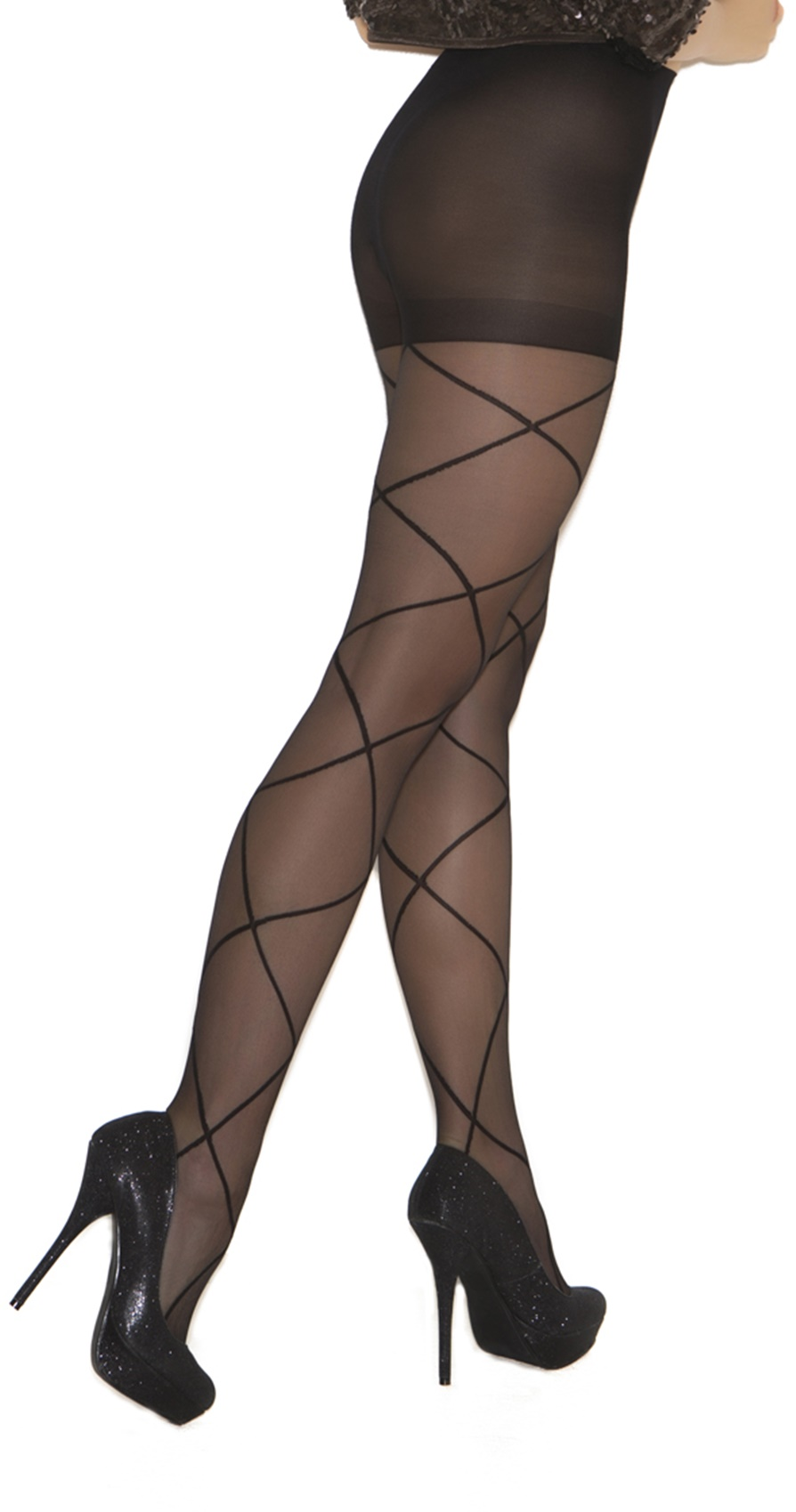 1841Q Queen Size Sheer Pantyhose With Criss Cross Detail