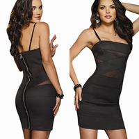 Womens Sexy Strapless Banded Mesh Club Dress #8711