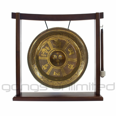 "SOLD OUT 10.5"" Tibetan Rising Gong on the Woodsonic Gong Stand - FREE SHIPPING"