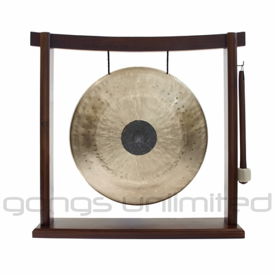 "SOLD OUT 12"" Chocolate Drop Gong on Woodsonic Gong Stand - FREE SHIPPING"