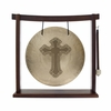 """12"""" Cross Engraved Wind Gong on the Woodsonic Gong Stand - FREE SHIPPING"""