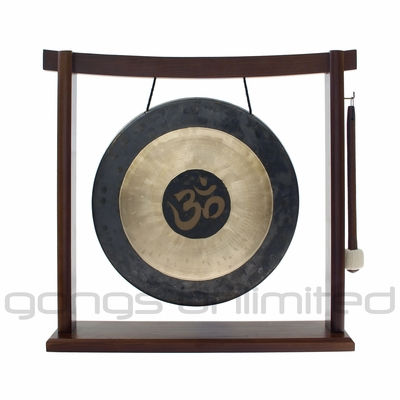 "SOLD OUT 12"" Om Engraved Chau Gong on the Woodsonic Gong Stand - FREE SHIPPING"