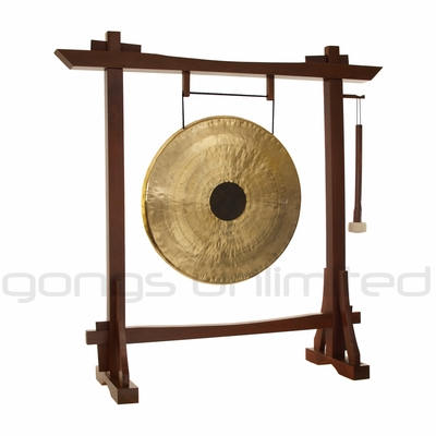 "22"" Chocolate Drop Gong on Modern Antique Gong Stand - FREE SHIPPING"