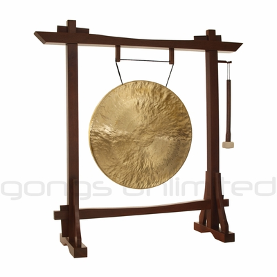 """22"""" White Gong on Modern Antique Gong Stand - FREE SHIPPING"""