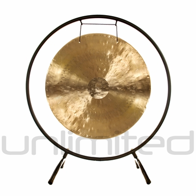 """22"""" White Gong on the Holding Space Gong Stand - FREE SHIPPING"""