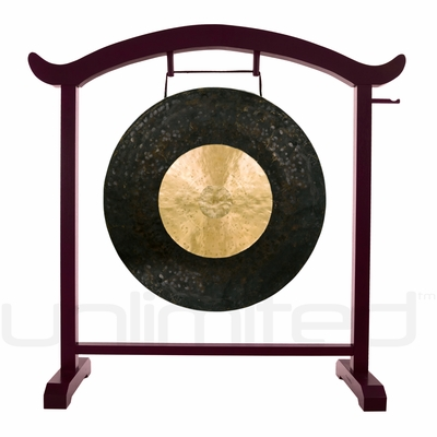 "28"" Dark Star Gong on the Deeper Meaning Gong Stand - FREE SHIPPING"