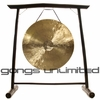 "26"" White Gong on the Vietnamese Bamboo Gong Stand"