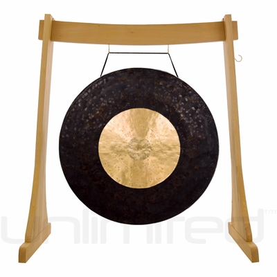 """36"""" Dark Star Gong on the Unlimited Revelation Gong Stand"""