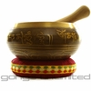 "4.75"" Engraved Bronze Nepalese Singing Bowl with Buddha Inside"