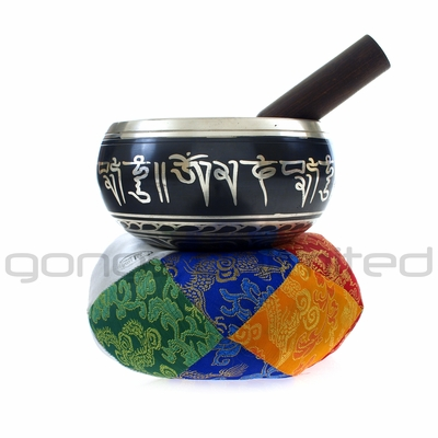 "5"" Engraved Nepalese Singing Bowl with Silver Finish - FREE SHIPPING"