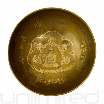 "6"" Unlimited Amitabha Buddha Singing Bowl with Engraved Buddhas"