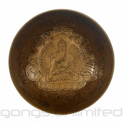 "7.5"" Unlimited Moksha Singing Bowl with One Engraved Buddha"