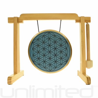 "7"" Blue Flower of Life Gong on the Tiny Atlas Stand - Natural - FREE SHIPPING"