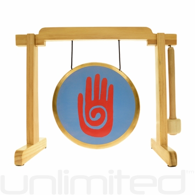 "7"" Reiki Gong on the Tiny Atlas Stand - Natural - FREE SHIPPING"