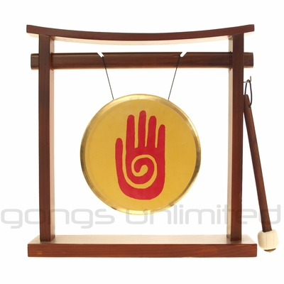 """7"""" Healing Hand Reiki Gong on Pretty Chill Gong Stand - FREE SHIP"""