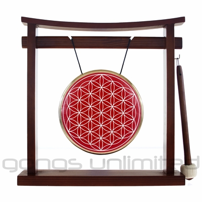 "7"" Red Flower Of Life Gong on the Pretty Chill Gong Stand - FREE SHIPPING"