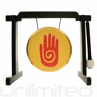 "7"" Reiki Gong on the Tiny Atlas Stand - Black - FREE SHIPPING"