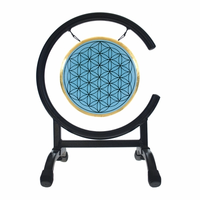 "7"" Blue Flower Of Life Gong on High C Gong Stand - FREE SHIPPING"