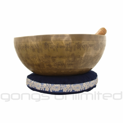 "11"" Bodhi Singing Bowl with an Engraved Buddha"