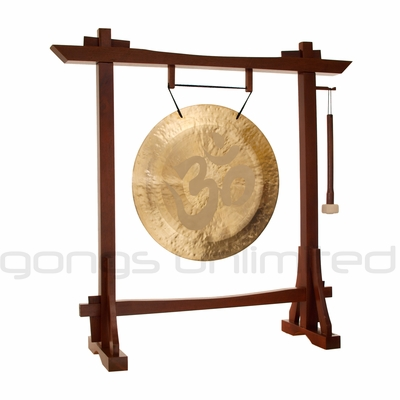 """22"""" Om Wind Gong on Modern Antique Gong Stand - FREE SHIPPING"""