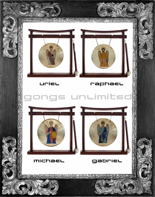 Set of 4 ArchAngel Prayer Gongs - Gabriel, Raphael, Uriel and Michael on the Pretty Chill Gong Stand