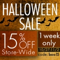 15% off Store-Wide Halloween Sale - 1 week only