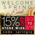 15 % Off Store-Wide Welcome Spring Event