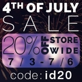 20 % Off The 4th of July Sale - 3 Days Only