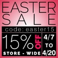 Easter Sale 15 % Off Store-Wide