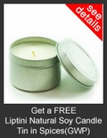 FREE Liptini Natural Soy Candle Tin in Spices with Purchase of Liptini