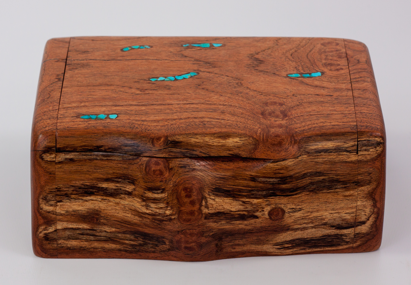 Mesquite Log Box With Turquoise Stone Inlay