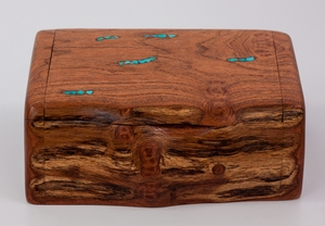 Mesquite Log Box with Turquoise-stone inlay