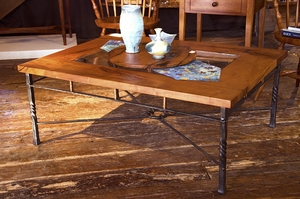 Mesquite & Wrought Iron Coffee Table