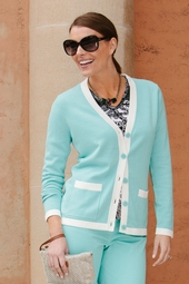 Cardigan with White Contrast Trim