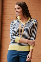 Polo Stripe Sweater - Blue/Almond with Contrast Collar & Hem