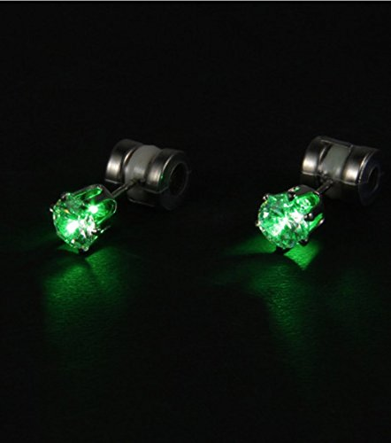 Color Led Earrings Light Up Glowing Studs Ear Ring Drop: Green LED Earrings - Light Up Earrings By Night Ice