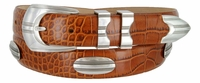 81208143 Men's Italian embossed Calfskin Leather Dress Conchos Belt