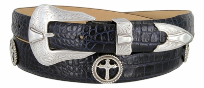 Christian Cross Conchos Western Leather Belt