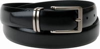 "Florsheim Genuine Black Leather Belt with Solid Buckle and matching Split Keeper 1 1/8"" Wide"
