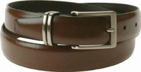"Florsheim Genuine Brown Leather Dress Belt with Solid Buckle and Keeper 1 1/8"" Wide"