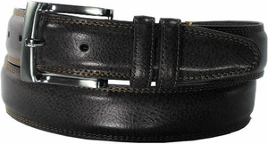 "Florsheim Genuine Pebble Grain Leather Belt with Double Keepers Black 1 1/4"" Wide"