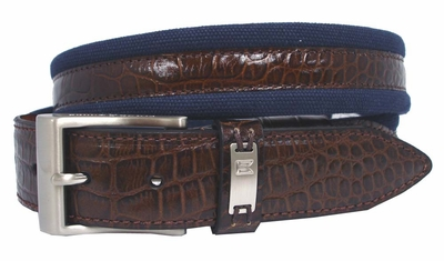 G-Flex Canvas With Croco Overlay Tiger Woods Mens Golf Belt Navy 1204105